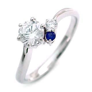 婚約指輪(エンゲージリング) ( 9月誕生石 ) サファイヤ プラチナ ダイヤモンドリング(ラウンドブリリアント)