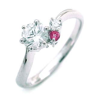 10月誕生石 婚約指輪(エンゲージリング) ピンクトルマリン プラチナ ダイヤモンドリング(ラウンドブリリアント)