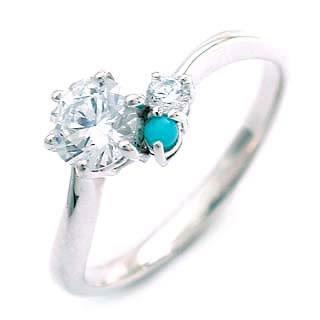 婚約指輪(エンゲージリング) ( 12月誕生石 ) ターコイズ トルコ石 プラチナ ダイヤモンドリング(ラウンドブリリアント)