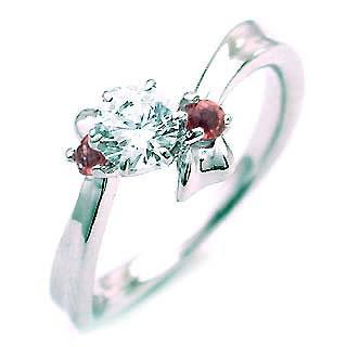 ( 1月誕生石 ) ガーネット Ptダイヤリング(婚約指輪・エンゲージリング)【DEAL】