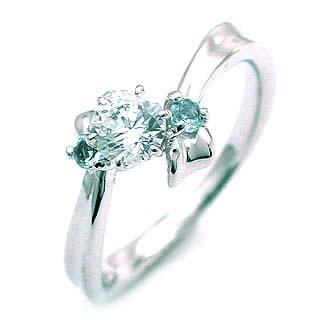 ( 3月誕生石 ) アクアマリン Pt ダイヤリング(婚約指輪・エンゲージリング)