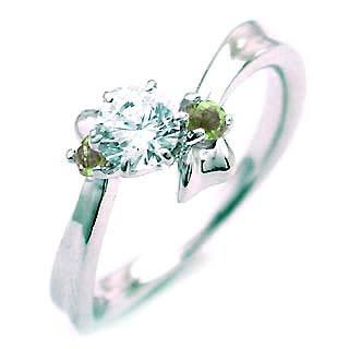 ( 8月誕生石 ) ペリドット Pt ダイヤリング(婚約指輪・エンゲージリング)【DEAL】 末広 スーパーSALE