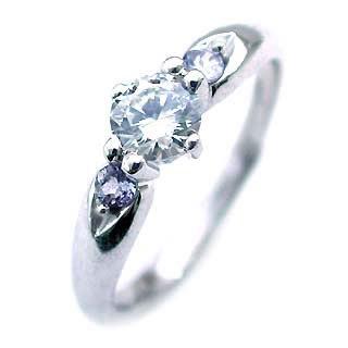 ( 12月誕生石 ) タンザナイト Pt ダイヤリング(婚約指輪・エンゲージリング)