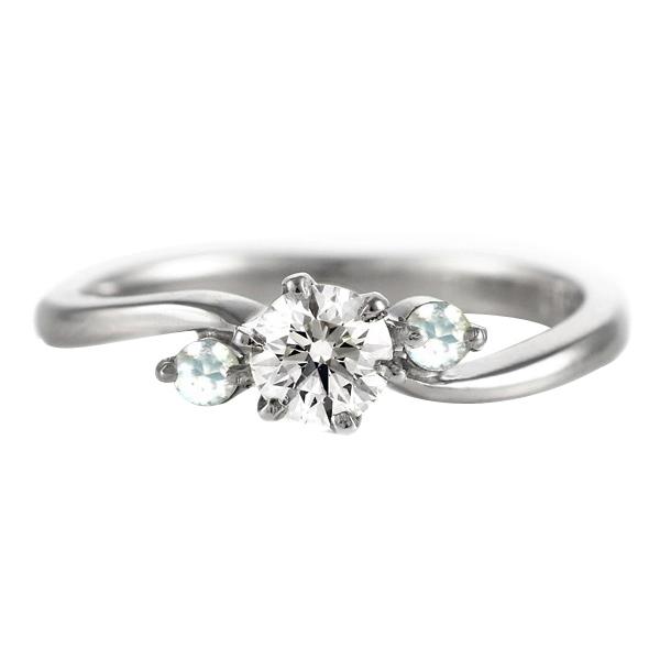 CanCam掲載( 6月誕生石 ) ムーンストーン Ptダイヤリング(婚約指輪・エンゲージリング) 【DEAL】