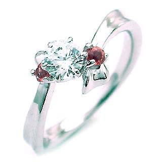 ( 1月誕生石 ) ガーネット Ptダイヤリング(婚約指輪・エンゲージリング)【DEAL】 末広 スーパーSALE
