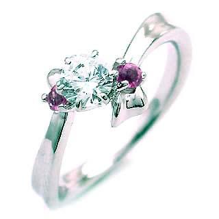 ( 2月誕生石 ) アメジスト Pt ダイヤリング(婚約指輪・エンゲージリング) 【DEAL】