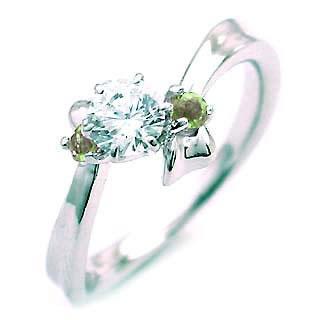 ( 8月誕生石 ) ペリドット Pt ダイヤリング(婚約指輪・エンゲージリング) 末広 スーパーSALE