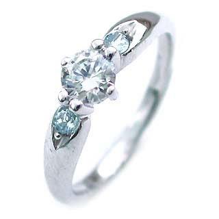 ( 3月誕生石 ) アクアマリン Pt ダイヤリング(婚約指輪・エンゲージリング) 末広 スーパーSALE