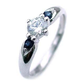 ( 9月誕生石 ) サファイア Pt ダイヤリング(婚約指輪・エンゲージリング) 末広 スーパーSALE