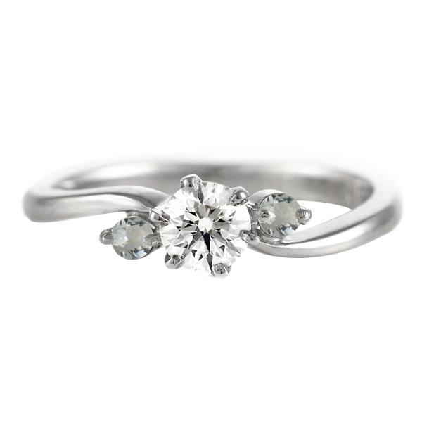 CanCam掲載( 3月誕生石 ) アクアマリン Pt ダイヤリング(婚約指輪・エンゲージリング) 末広 スーパーSALE