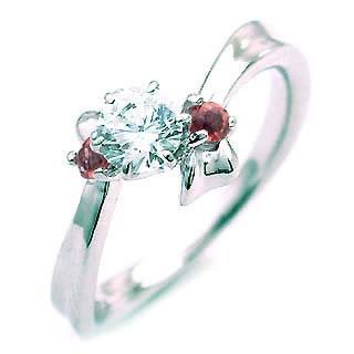 ( 1月誕生石 ) ガーネット Ptダイヤリング(婚約指輪・エンゲージリング) 末広 スーパーSALE