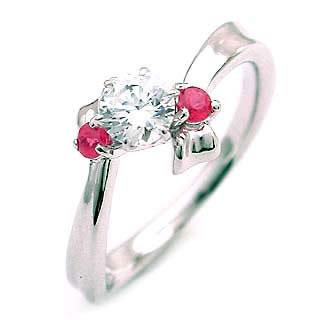 ( 7月誕生石 ) ルビー Pt ダイヤモンドリング(婚約指輪・エンゲージリング)【DEAL】