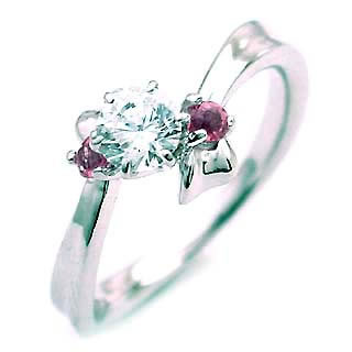 10月誕生石 ピンクトルマリン Ptダイヤリング(婚約指輪・エンゲージリング)