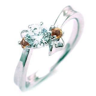 ( 11月誕生石 ) シトリン Pt ダイヤモンドリング(婚約指輪・エンゲージリング)【DEAL】