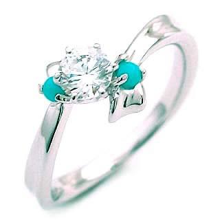 ( 12月誕生石 ) ターコイズ Pt ダイヤリング(婚約指輪・エンゲージリング)【DEAL】