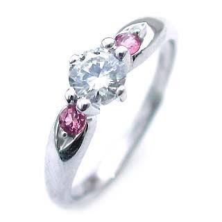 10月誕生石 ピンクトルマリン Ptダイヤリング(婚約指輪・エンゲージリング) 末広 スーパーSALE