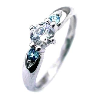 ( 11月誕生石 ) ブルートパーズ Pt ダイヤリング(婚約指輪・エンゲージリング)【DEAL】