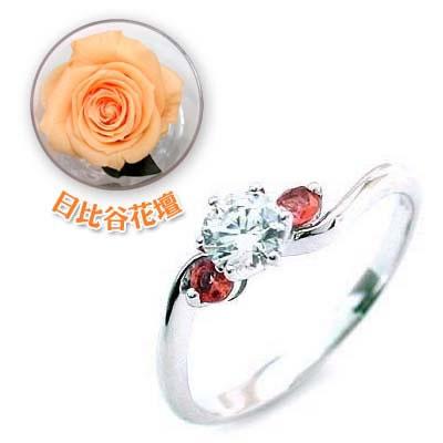 CanCam掲載( 婚約指輪 ) ダイヤモンド プラチナエンゲージリング( 1月誕生石 ) ガーネット(母の日 限定 日比谷花壇誕生色バラ付)