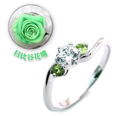 CanCam掲載( 婚約指輪 ) ダイヤモンド プラチナエンゲージリング( 8月誕生石 ) ペリドット(母の日 限定 日比谷花壇誕生色バラ付)