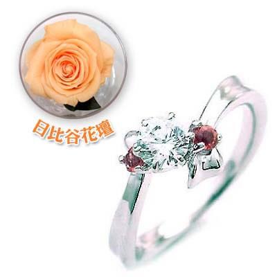 ( 婚約指輪 ) ダイヤモンド プラチナエンゲージリング( 1月誕生石 ) ガーネット(母の日 限定 日比谷花壇誕生色バラ付)