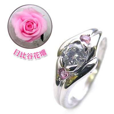 10月誕生石 ( 婚約指輪 ) ダイヤモンド プラチナエンゲージリングピンクトルマリン(母の日 限定 日比谷花壇誕生色バラ付)