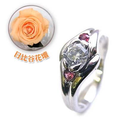( 婚約指輪 ) ダイヤモンド プラチナエンゲージリング( 1月誕生石 ) ガーネット(母の日 限定 日比谷花壇誕生色バラ付)【DEAL】