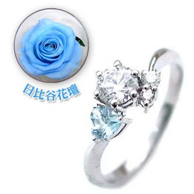 CanCam掲載( 婚約指輪 ) ダイヤモンド プラチナエンゲージリング( 3月誕生石 ) アクアマリン(母の日 限定 日比谷花壇誕生色バラ付) 【DEAL】