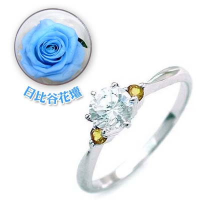 ( 婚約指輪 ) ダイヤモンド プラチナエンゲージリング( 11月誕生石 ) シトリン(母の日 限定 日比谷花壇誕生色バラ付) 【DEAL】