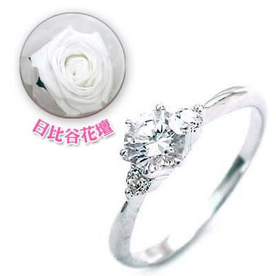 ( 婚約指輪 ) ダイヤモンド プラチナエンゲージリング( 4月誕生石 ) ダイヤモンド(母の日 限定 日比谷花壇誕生色バラ付)【DEAL】
