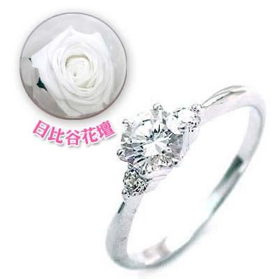 ( 婚約指輪 ) ダイヤモンド プラチナエンゲージリング( 4月誕生石 ) ダイヤモンド(母の日 限定 日比谷花壇誕生色バラ付)