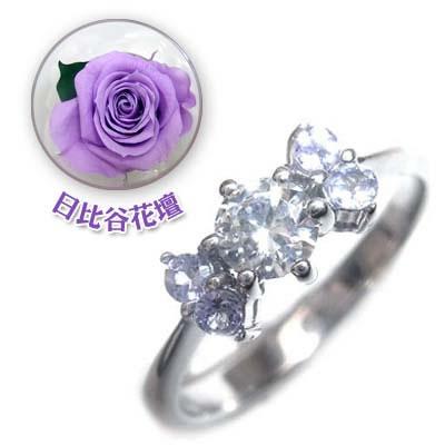 ( 婚約指輪 ) ダイヤモンド プラチナエンゲージリング( 12月誕生石 ) タンザナイト(母の日 限定 日比谷花壇誕生色バラ付)【DEAL】