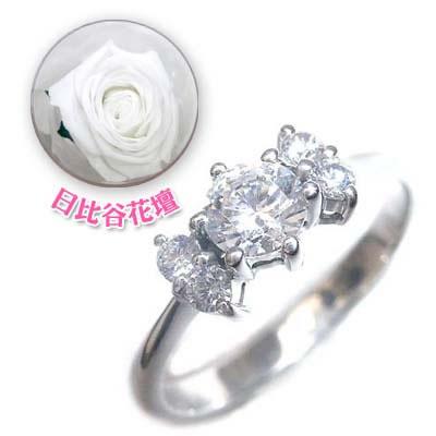 ( 婚約指輪 ) ダイヤモンド プラチナエンゲージリング( 4月誕生石 )(母の日 限定 日比谷花壇誕生色バラ付)【DEAL】