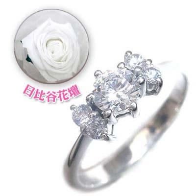 ( 婚約指輪 ) ダイヤモンド プラチナエンゲージリング( 4月誕生石 )(母の日 限定 日比谷花壇誕生色バラ付) 【DEAL】