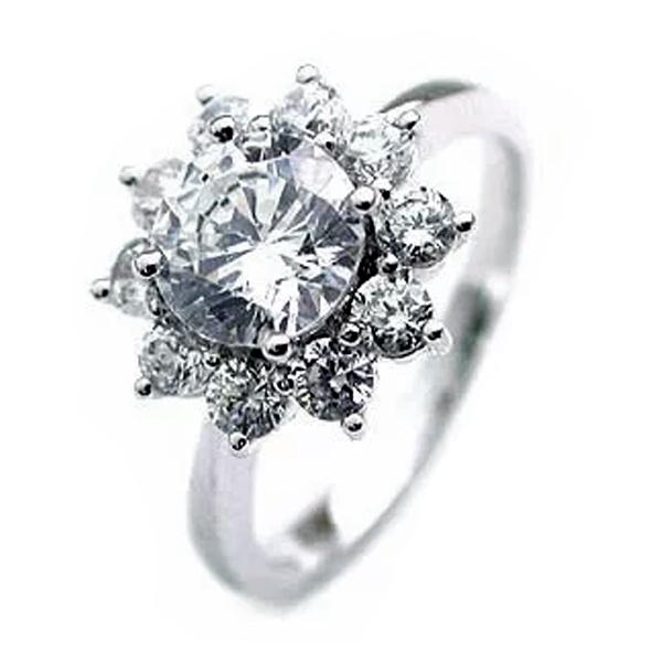 エンゲージリング ダイヤモンドリング 1カラット 1ct プラチナリング フラワーモチーフ 大粒 結婚記念 結婚10周年 サプライズ ギフト プレゼント 退職記念 鑑定書付