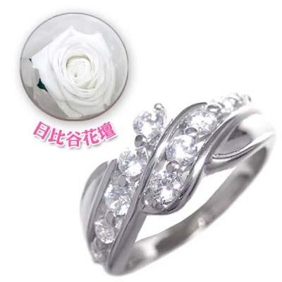 ( 4月誕生石 ) プラチナ ダイヤモンドリング(母の日 限定 日比谷花壇誕生色バラ付) 【DEAL】
