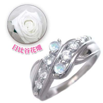 ( 6月誕生石 ) プラチナ ムーンストーン・ダイヤモンドリング(母の日 限定 日比谷花壇誕生色バラ付) 【DEAL】