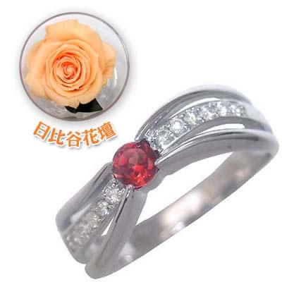 ( 1月誕生石 ) K18ホワイトゴールドガーネット・ダイヤモンドリング(婚約指輪・エンゲージリング)(母の日 限定 日比谷花壇誕生色バラ付)【DEAL】