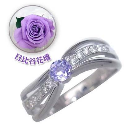 ( 12月誕生石 ) K18ホワイトゴールドタンザナイト・ダイヤモンドリング(婚約指輪・エンゲージリング)(母の日 限定 日比谷花壇誕生色バラ付)【DEAL】