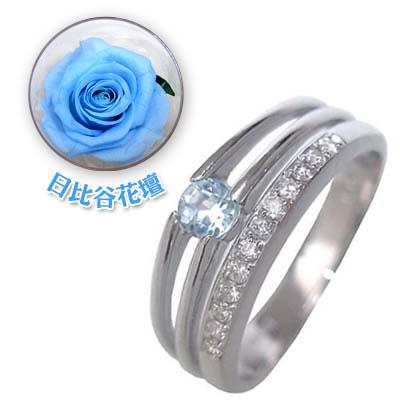 ( 3月誕生石 ) K18ホワイトゴールドアクアマリン・ダイヤモンドリング(婚約指輪・エンゲージリング)(母の日 限定 日比谷花壇誕生色バラ付) 【DEAL】