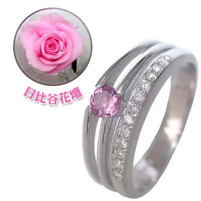 10月誕生石 K18ホワイトゴールドピンクトルマリン・ダイヤモンドリング(婚約指輪・エンゲージリング)(母の日 限定 日比谷花壇誕生色バラ付) 【DEAL】