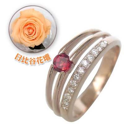( 1月誕生石 ) K18ピンクゴールドガーネット・ダイヤモンドリング(婚約指輪・エンゲージリング)(母の日 限定 日比谷花壇誕生色バラ付)