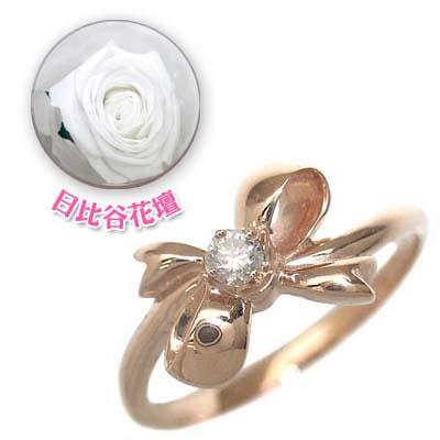 ( 4月誕生石 ) K18ピンクゴールド ダイヤモンドリング(リボンモチーフ)(母の日 限定 日比谷花壇誕生色バラ付)