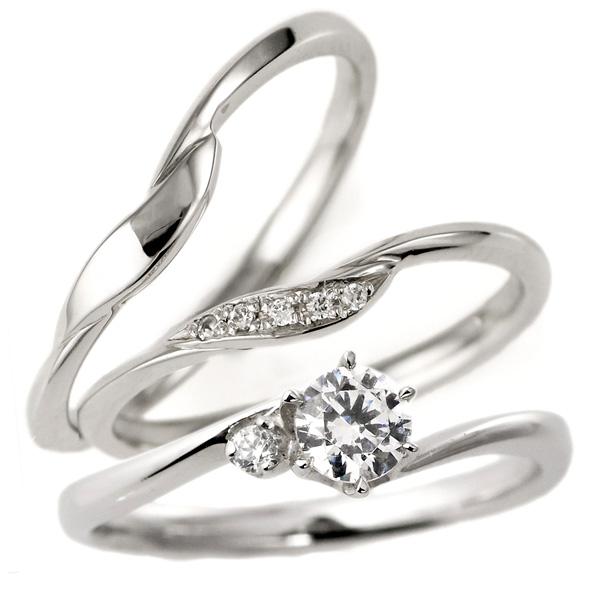 結婚指輪 セットリング 婚約指輪 ダイヤモンド プラチナ エンゲージリング マリッジリング ペアリング 重ね付け 末広 スーパーSALE