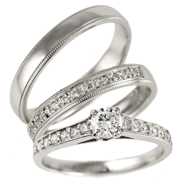 セットリング 婚約指輪 結婚指輪 重ね付け ダイヤモンド プラチナ マリッジリング ペアリング エンゲージリング 末広 スーパーSALE【今だけ代引手数料無料】