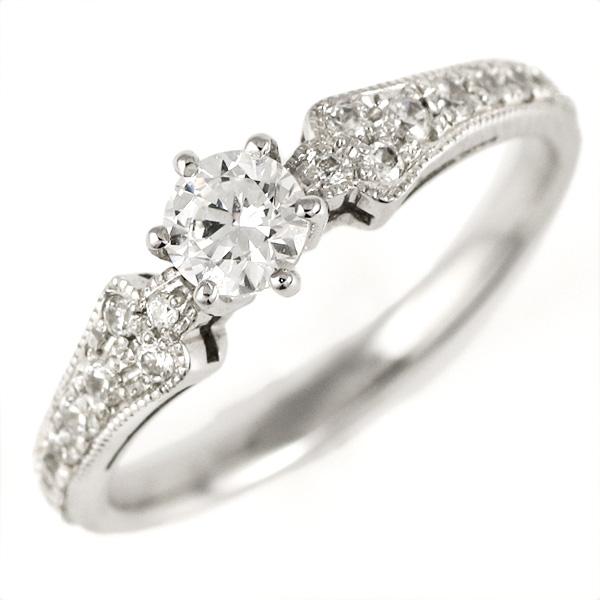 婚約指輪 ダイヤモンド ダイヤ プラチナ リング 0.3ct 天然石 エンゲージリング 鑑定書 末広 スーパーSALE
