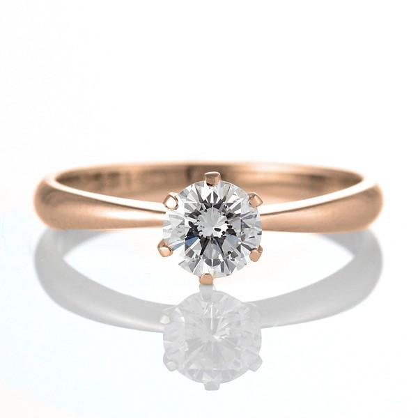 婚約指輪 ダイヤモンド リング 立爪 ダイヤ エンゲージリング ダイヤモンド ダイヤリング K18ピンクゴールド VVS1クラス0.20ct 鑑定書付き