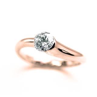 婚約指輪 ダイヤモンド リング 立爪 ダイヤ エンゲージリング ダイヤモンド ダイヤリング K18ピンクゴールド VVS1クラス0.30ct 鑑定書付き 【DEAL】