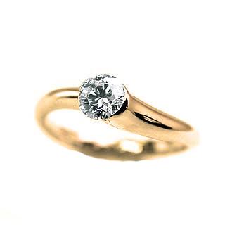 婚約指輪 ダイヤモンド リング 立爪 ダイヤ エンゲージリング ダイヤモンド ダイヤリング K18イエローゴールド VVS1クラス0.20ct 鑑定書付き