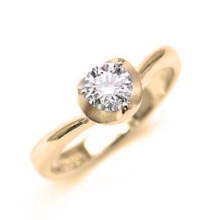 婚約指輪 ダイヤモンド リング 立爪 ダイヤ エンゲージリング ダイヤモンド ダイヤリング K18イエローゴールド SIクラス0.30ct 鑑定書付き