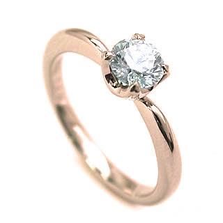 婚約指輪 ダイヤモンド リング 立爪 ダイヤ エンゲージリング ダイヤモンド ダイヤリング K18ピンクゴールド SIクラス0.20ct 鑑定書付き【DEAL】